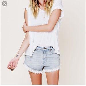 Free people ruffle trim denim shorts